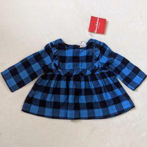 NWT Hanna Andersson Blue Plaid Dress Size 60 3-6mo